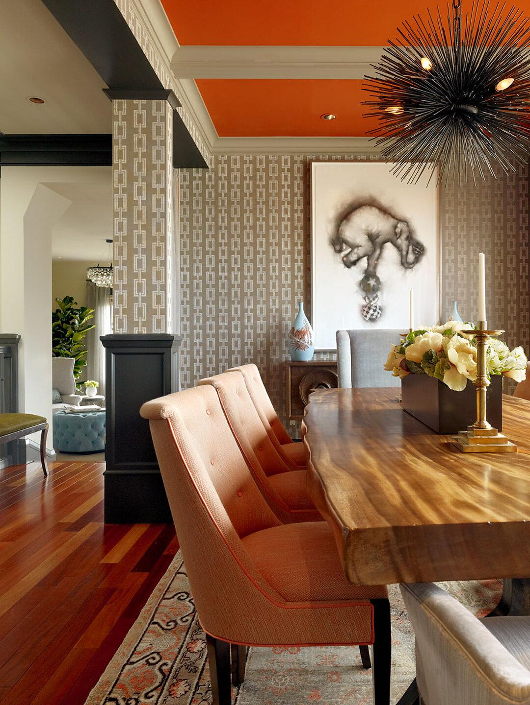 Дизайн стен столовой комнаты
